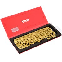 New for YBN Mountain Bike Chain 11 Speed Road Folding Bike 10 11 Speed Gold Full Engrave Semi Hollow Chain