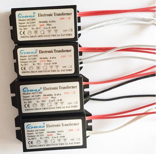 3 anos warrnty eletrônico transformador ac 220 v ac12v para lâmpada de halogênio cristal g4 lâmpada 20 w 40 50 60 80 105 120 w 160 w