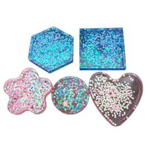 DIY Silicone Mould Crystal Epoxy Super Soft And Mirror Molds 5 Six-sided Square Foil Base Cup Coaster