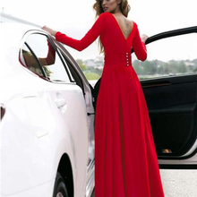 YJSFG HOUSE Plus Womens Floor-Length Dress Elegant V Neck Long Sleeve Ladies Maxi Split Evening Sexy Party Red Dresses