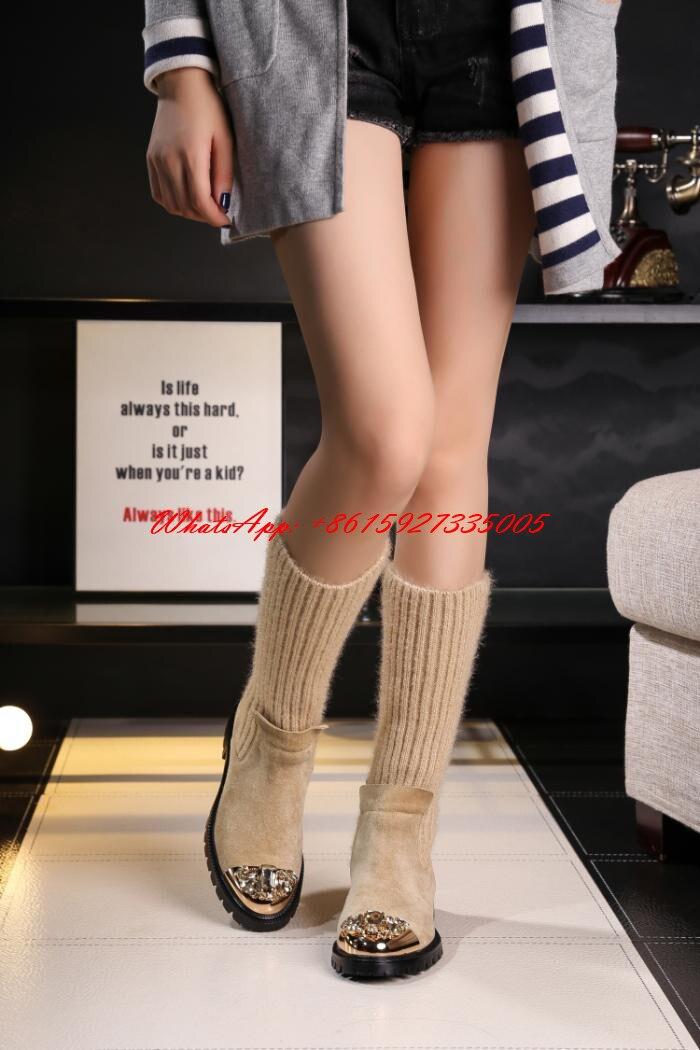 Bottes As Metal Elástico Nuevos Calcetines 2018 Shown Botas as Plano Femmes Invierno Lana Shown Mujer Diseño De Decoración Zapatos SZ7Zq
