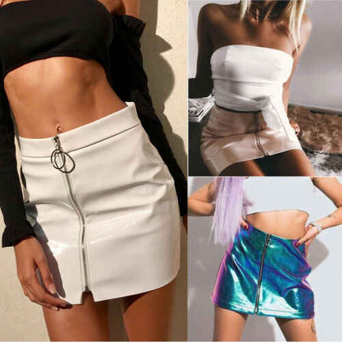 Wanita Fashion Seksi High Waist Circle Zipper Mengkilap Rok Mini Kulit Pu Pendek Pensil Kausal Solid Rok Putih