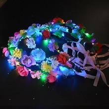 Party Crown Flower Headband LED Light Up Hair Wreath Hairband Garlands Women Halloween Christmas Glowing