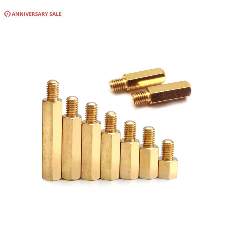 100pcs 3mm Thread M3 Hex <font><b>Brass</b></font> <font><b>Standoff</b></font> Spacer Male To Female Spacing Screws Pillar M3*4/5/6/7/8/9/10/11/12/13/14/16+4mm image