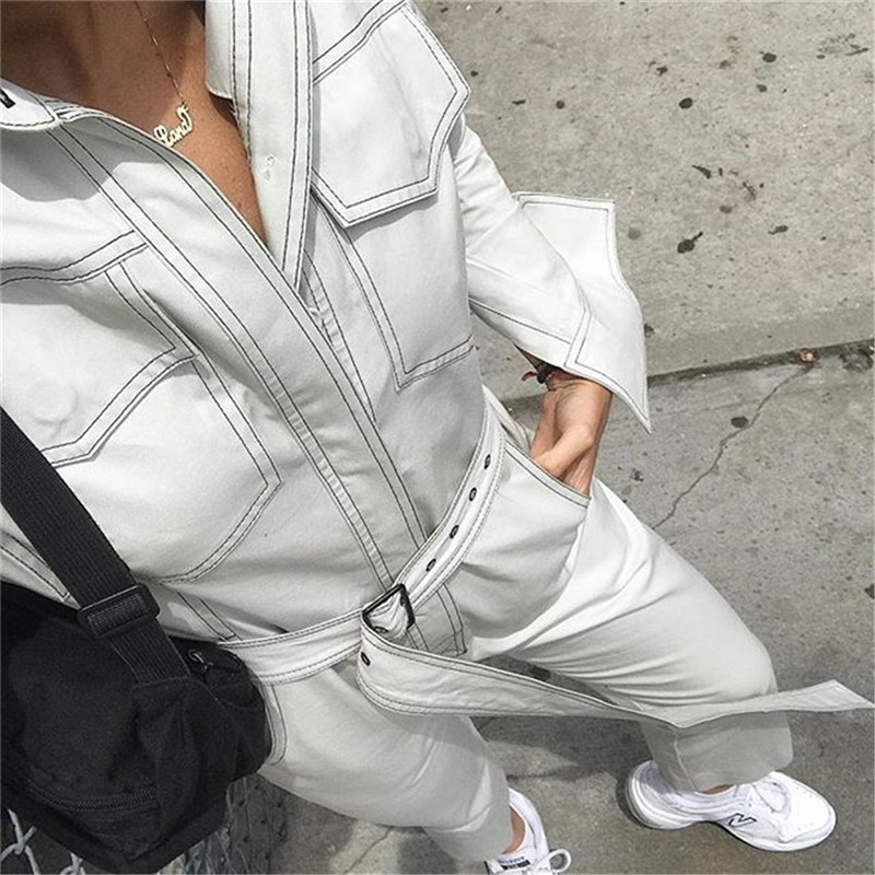 3722b0172eb Sexy Denim Jumpsuit Women Romper Long Sleeve Belt Black White Winter Autumn  Jeans Jumpsuit Female 2018 Streetwear Overalls women-in Jumpsuits from  Women s ...
