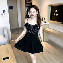 Sexy Women's Dress Polka Dot Tube Top Party Dress Low-cut Halter A-line Sling Dresses(China)