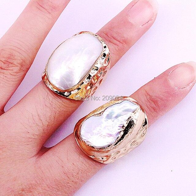 Bague en cuivre pour femmes, bijou à la mode, 6 pièces, plaqué or, eau douce naturelle, nouvelle collection, breloque