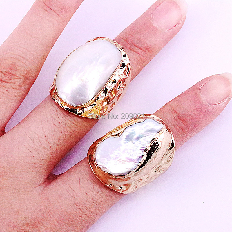 NEW Charm 6Pcs Gold Electroplated Natural Fresh Water Pearl Shell  Rings Fashion Woman Jewelry Copper RingsRings
