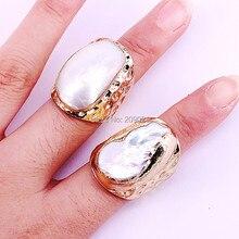 Novo charme 6 pçs ouro galvanizado natural água doce pérola concha anéis moda mulher jóias anéis de cobre