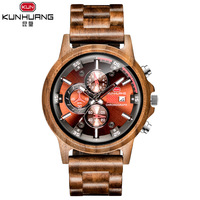 Brand Wooden Watches Men 2019 New Quartz Wristwatch Big Dial Outdoor Sports Style Personality Watch Calendar Students Male Hot