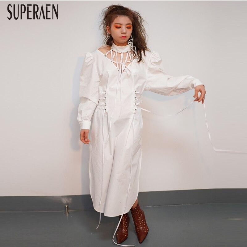SuperAen ใหม่ 2019 ฤดูใบไม้ผลิผู้หญิงสีทึบฝ้ายแฟชั่นหญิงยุโรปแขนยาว Hollow เสื้อผ้าผู้หญิง-ใน ชุดเดรส จาก เสื้อผ้าสตรี บน   1