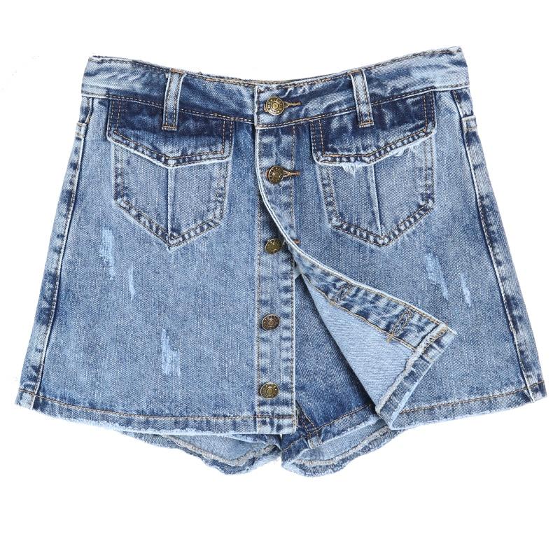 Women Summer Fashion Single Breasted High Waist Jean Shorts Skirt Casual Slim Pockets Denim Shorts Femme Short Jeans