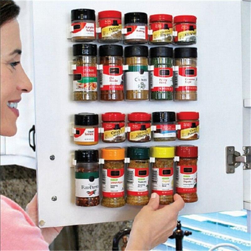 1 Set Holdres de rangement supports pour roulettes pots à épices bouteilles Fit cuisine réfrigérateur porte arrière mur armoire gain de place effacer outils
