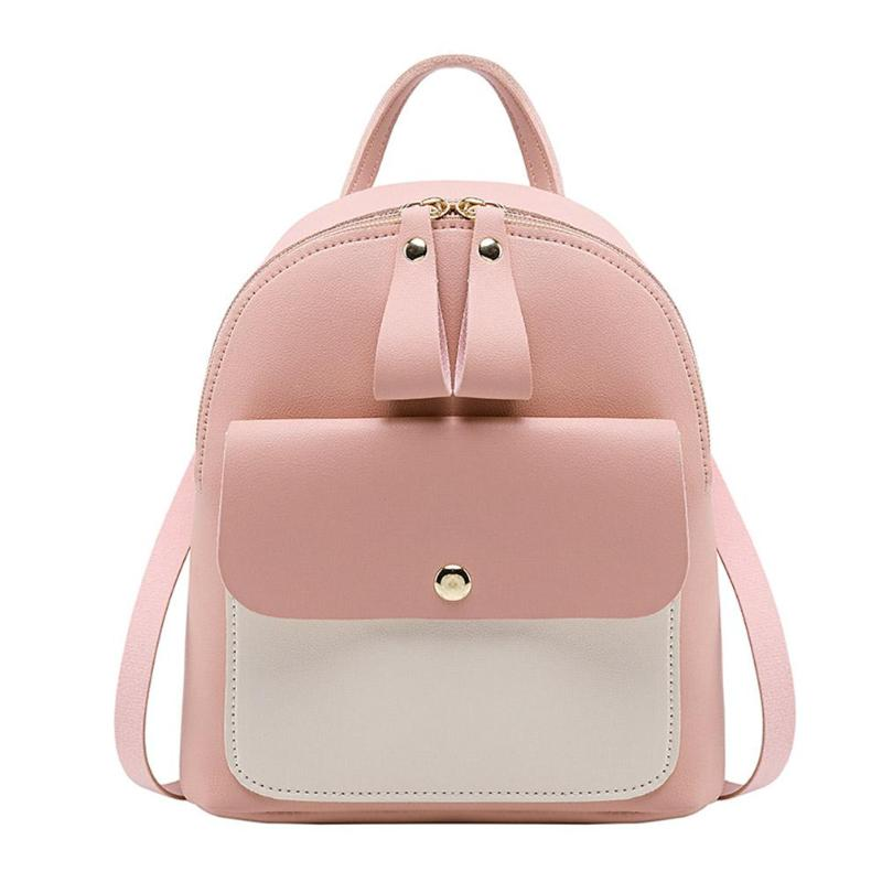 Simple Hit Color Backpack Women PU Leather Travel Shoulder Bags Crossbody Casual Small Girl School Bags Messenger Back PacksSimple Hit Color Backpack Women PU Leather Travel Shoulder Bags Crossbody Casual Small Girl School Bags Messenger Back Packs