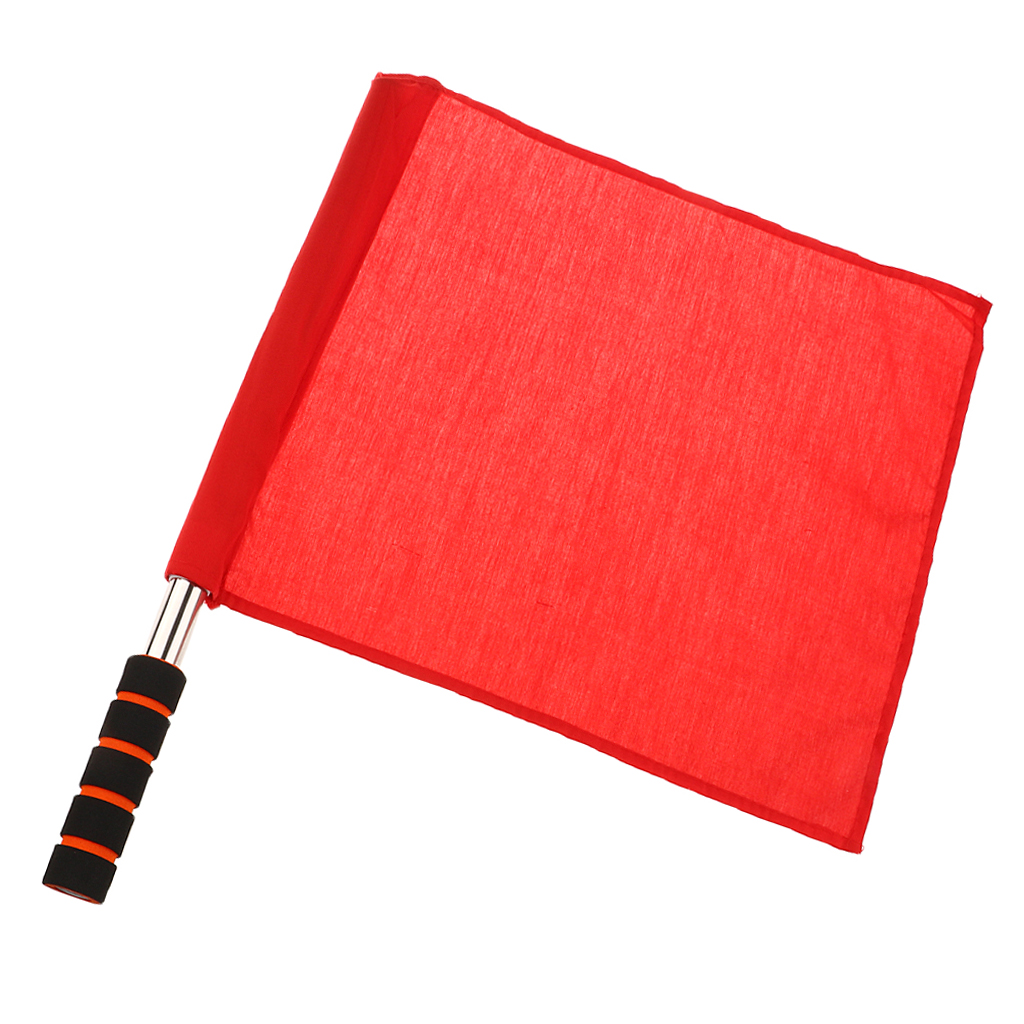 Lightweight Stainless Steel + Nylon Referee Football Soccer Hocky Lineman Flag Hand Flag Competition Flag Red