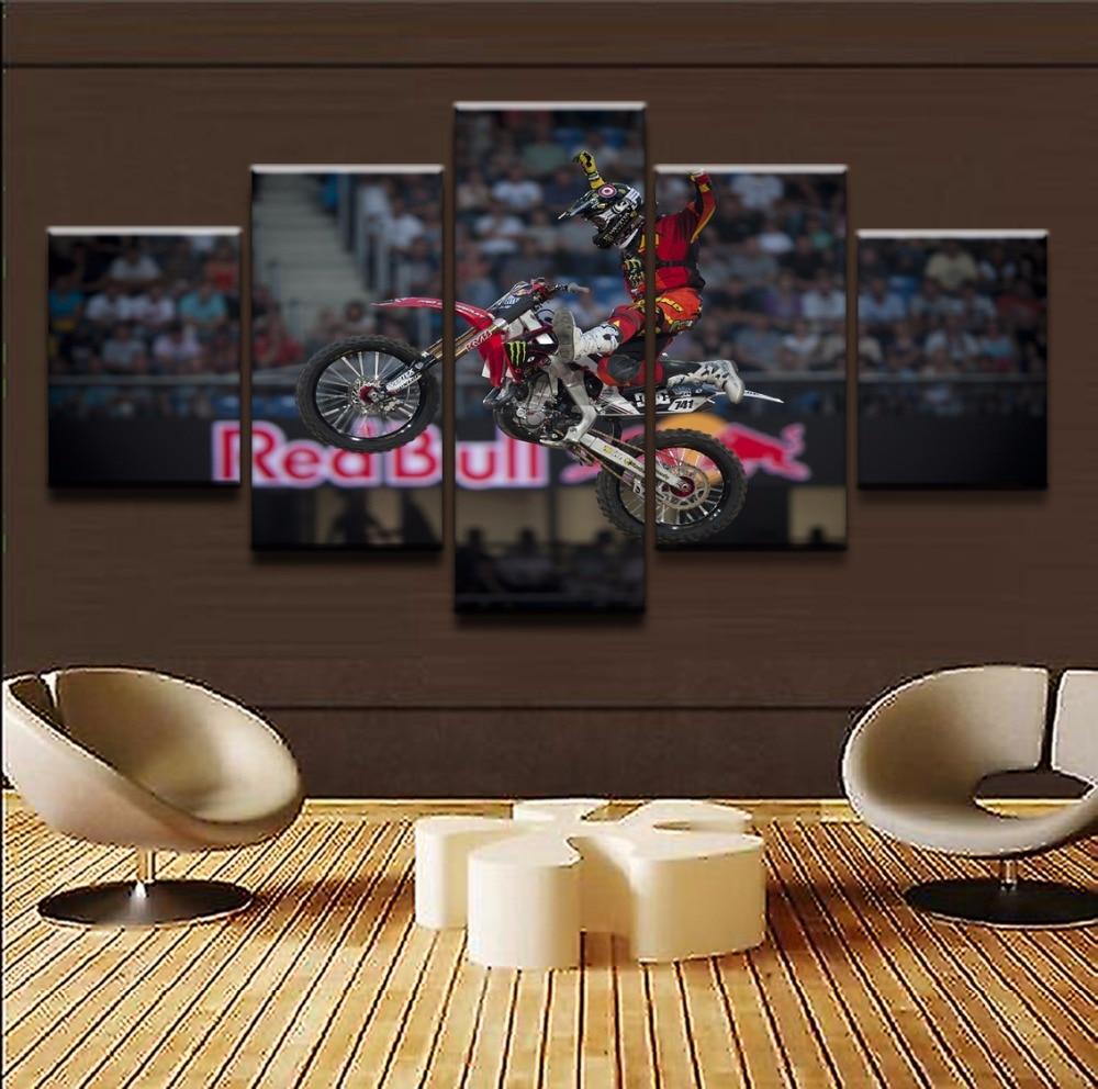 Современные картины, холст, рамки, художественный постер, Настенная картина маслом, домашний декор, 5 панелей, спортивный крест, напечатанны...