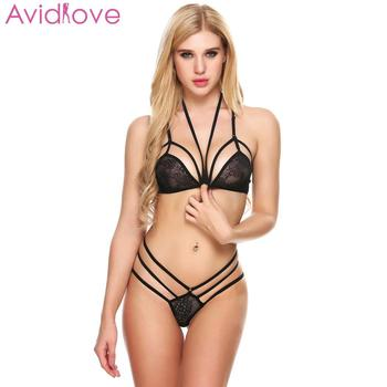 Avidlove Sexy Lingerie Set Sleepwear Erotic Underwear Women Sexy Lingerie Set Unlined Halter Lace Bra and Thong Brief lace sheer lingerie thong bra set