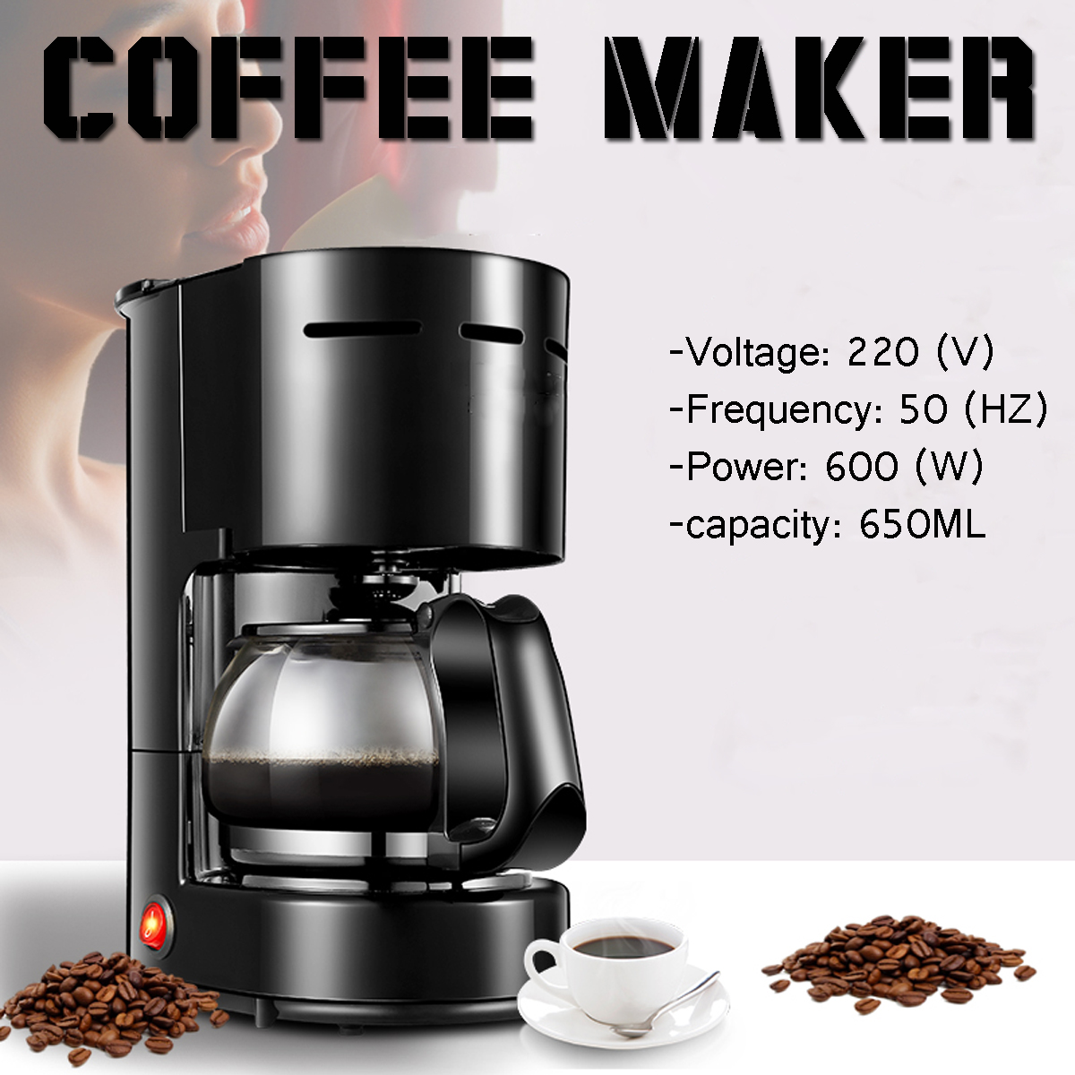 220V 0.65L Electric Drip Coffee Maker Fully-automatic 6 Cup Tea Stainless Steel Coffee Pot Machine for Household Office 1 25l electric drip coffee maker household large coffee machine 12 cup tea coffee pot 220v sonifer