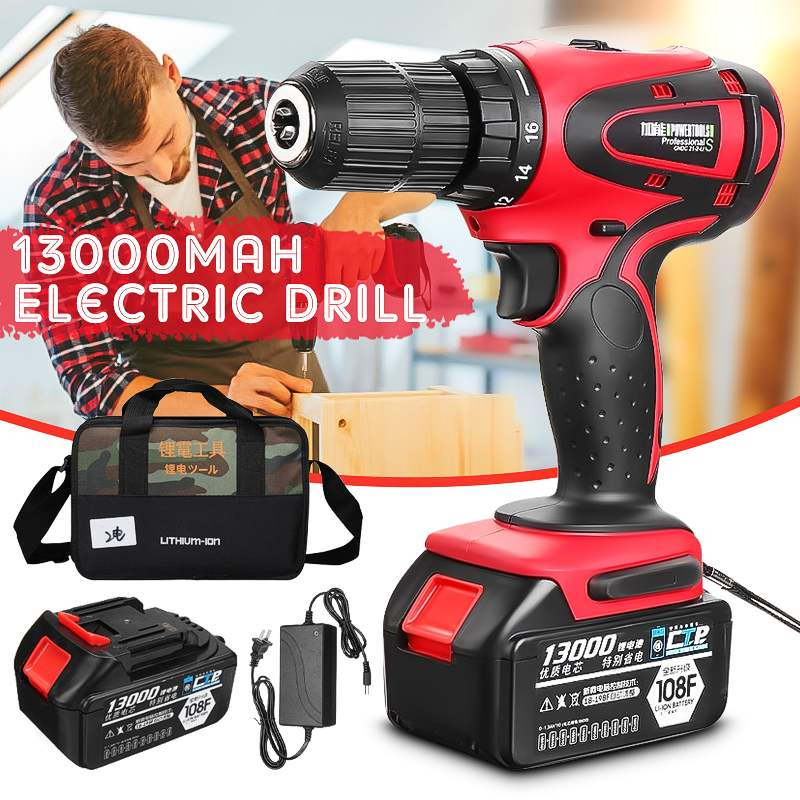 18V 13000mAh Impact Drill Electric Hand Drill Battery Cordless Hammer Drill Electric Screwdriver Home Diy Power Tools+Woven Bag18V 13000mAh Impact Drill Electric Hand Drill Battery Cordless Hammer Drill Electric Screwdriver Home Diy Power Tools+Woven Bag