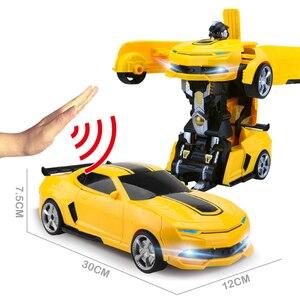 Image 5 - 2,4 Ghz Индукционная Трансформация Робот автомобиль 1:14 деформация RC автомобиль игрушка светодиодный светильник Электрический робот модели fightent игрушки подарки