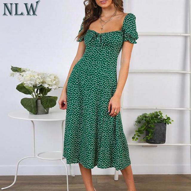 NLW Beach Bohemian Summer 2019 Women Dress Vintage Party Elegant Female Dress Midi Ruffle Green Dresses Vestidos