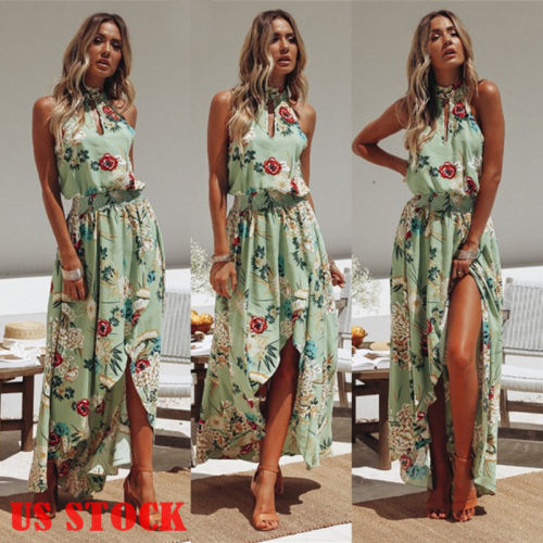 e09cb7be92b97 US $6.44 25% OFF|2019 New Summer Women BOHO Floral Print Holiday Beach  Chiffon Dress Sleeveless Halter Dress Lady Evening Party Long Maxi Dress-in  ...