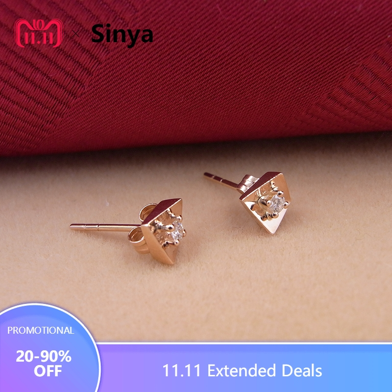 Sinya Diamond stud earring in Au750 gold rose gold color fashion design fine jewelry for women ladies girls Hot sale new pure au750 rose gold love ring lucky cute letter ring 1 13 1 23g hot sale