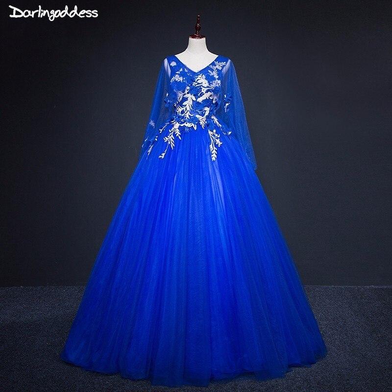 Robe de soirée bleu Royal longue col en v Cape manches robe formelle de bal grande taille robes de soirée Appliques robe de soirée longue 2018