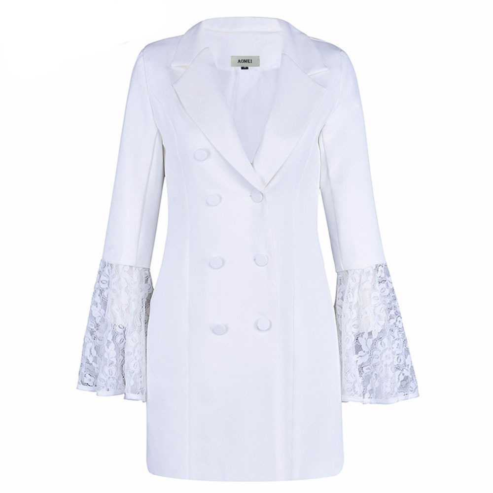 SWYIVY Women Jackets Lapel Double breasted Trumpet Sleeves Long Suit Jacket Coat 2019 Female OL Wear Lace Sleeve Outwear Jacket in Blazers from Women 39 s Clothing