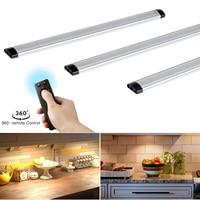 3pcs Remote control LED Kitchen Under Cabinet Rigid Strip Light LED Rigid Bar Light Kit Closet Wardrobe LED Bar Lighting Lamps
