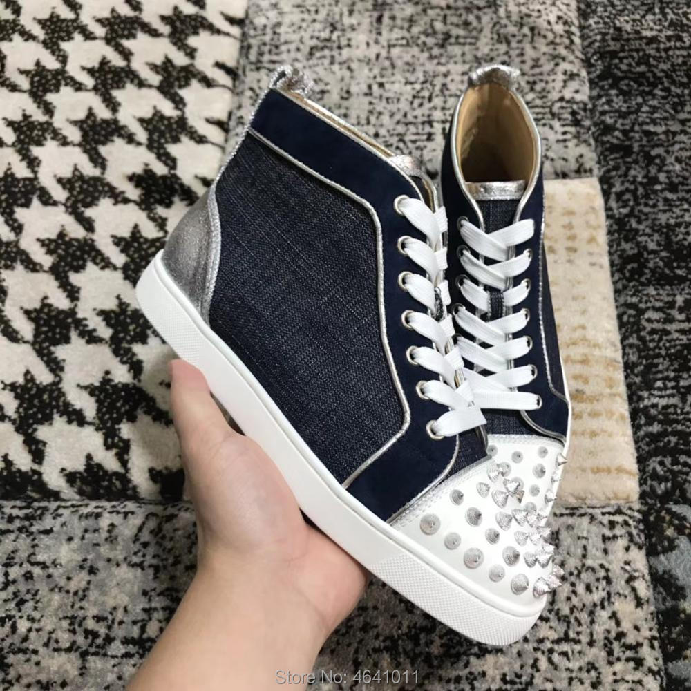 cl andgz high-Top shoes Blue denim Threaded Rivets Front Fashion Red bottom  For man. US  125.00. Low-Cut Leisure shoe cl andgz Lace-up Full Black ... 8181b8497af5