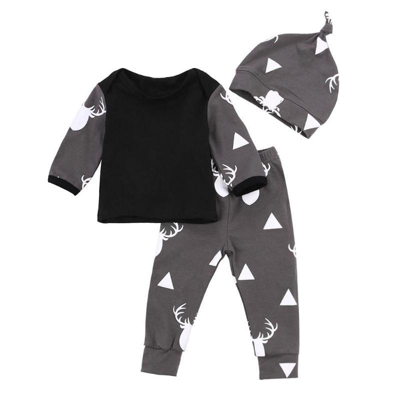 3pcs/Set Newborn Baby Soft Fashion Deer Print Autumn T-shirt Pants Hat Suit