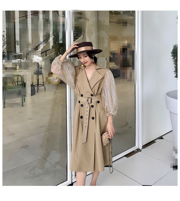 Fashion Dot Mesh Puff Long Sleeve Patchwork Windbreaker Double Breasted Long Type Coat Vestido 2019   Trench   Coat