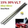 15% 30% 3 м x 76 см LVT Автомобильная оконная стеклянная Тонировочная пленка тонировка рулон серебряное зеркало для автомобилей/кемперов/фургонов...