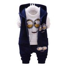 322c29af63 Di marca Delle Ragazze Dei Ragazzi Del Bambino 1-4 Giallo 3 pezzi Dei  Capretti Del Vestito Vestiti Minion abbigliamento Per Bamb.