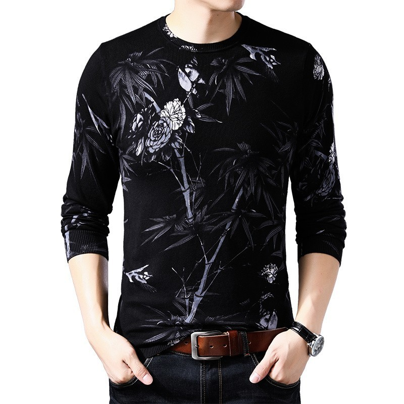 Black White Printed Sweater Erkek Kazak Mens Round Neck Pullover Sueter Hombre Slim Fit Pull Homme  Mens  Chompas Hombre