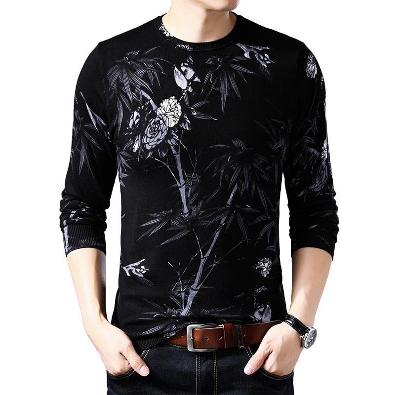 Black White Printed Sweater Erkek Kazak Mens Round Neck Pullover Sueter Hombre Slim Fit Pull Homme  Mens  Chompas Hombre
