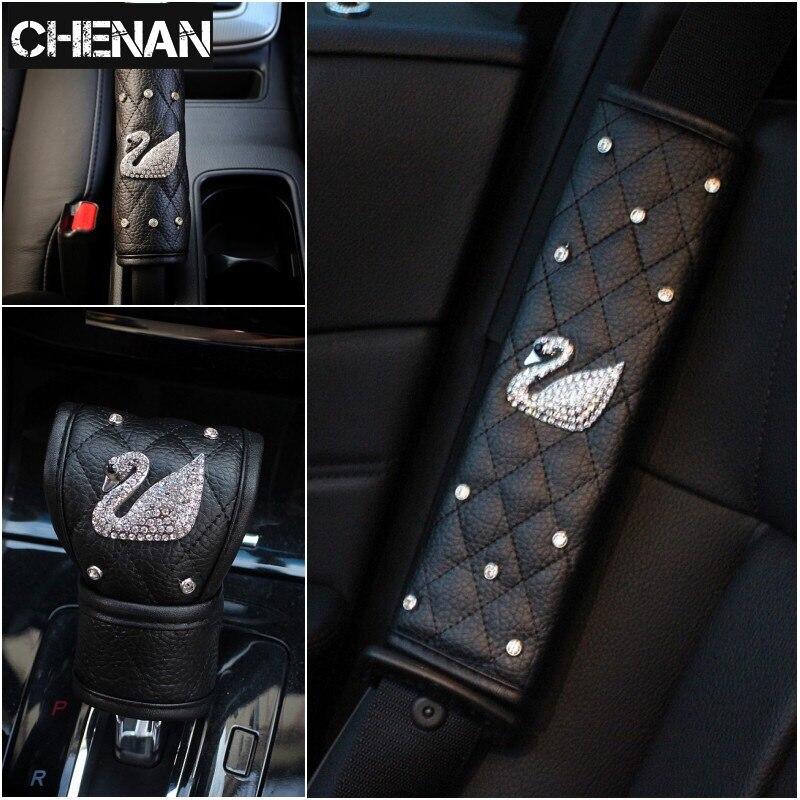 Diamond Handbrake Cover Gear Shift Collars Hand Bracke Grips Sleeve Shoulder Cover Handbrake Grips Shoulder Pad