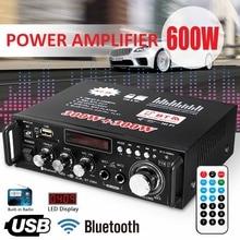 12 V/220 V BT-298A 2CH ЖК-дисплей Дисплей цифровой Hi-Fi стерео аудио кабель Мощность усилитель bluetooth FM радио автомобиля домой 600W с дистанционным управлением Управление