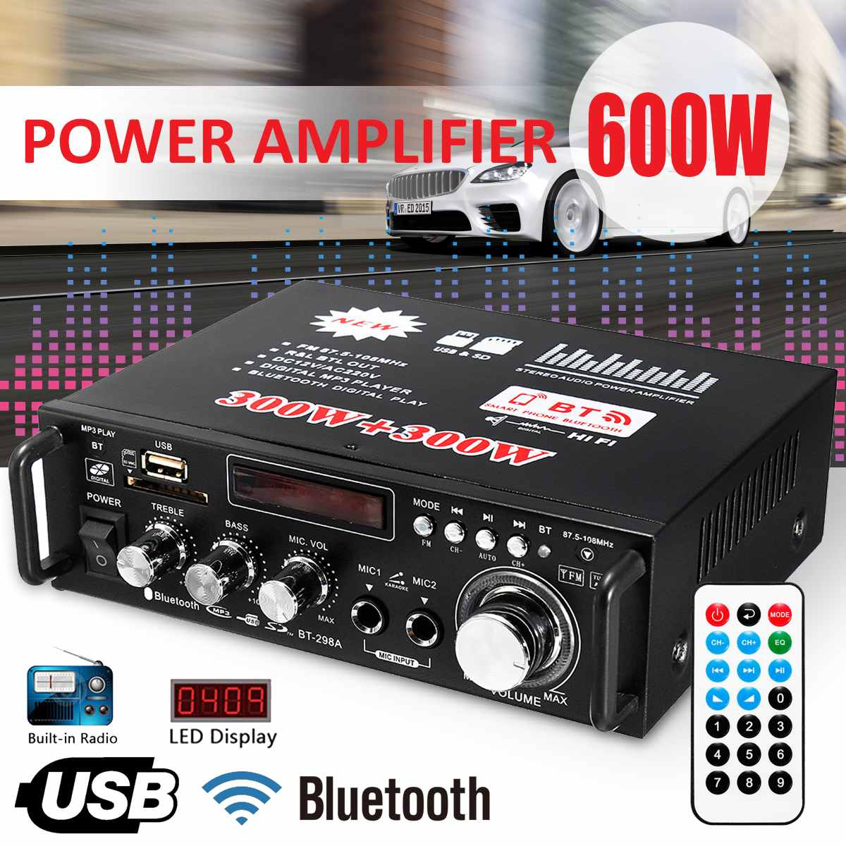 Smart 12v/ 220v Bt-298a 2ch Lcd Display Digital Hifi Audio Stereo Power Amplifier Bluetooth Fm Radio Car Home 600w With Remote Control Excellent Quality