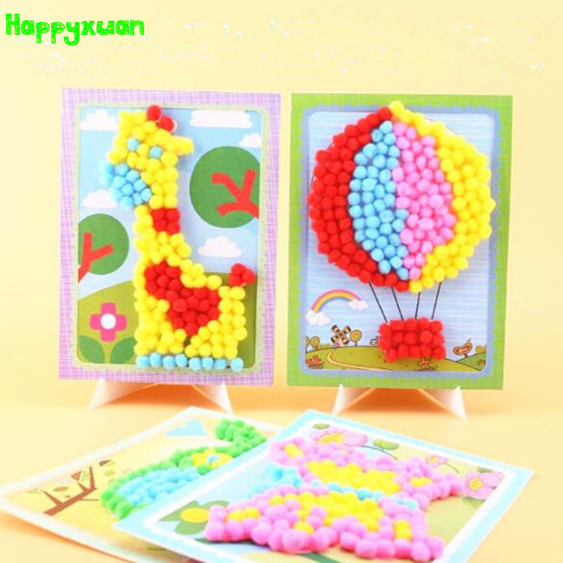 Happyxuan 5pcs DIY Creative Pompoms Ball Stickers Cartoon Kindergarten Toys Kid Arts And Crafts