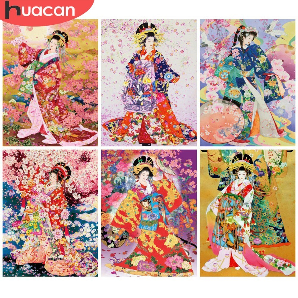 HUACAN DIY Diamond Painting Kimono Girl Full Drill Square Mosaic Diamond Embroidery Portrait Home Decor Picture Of RhinestoneHUACAN DIY Diamond Painting Kimono Girl Full Drill Square Mosaic Diamond Embroidery Portrait Home Decor Picture Of Rhinestone