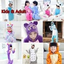 Фланелевые Семейные рождественские пижамы с единорогом для мальчиков и девочек, Комбинезон кигуруми, комбинезон, Детский комбинезон с пандой
