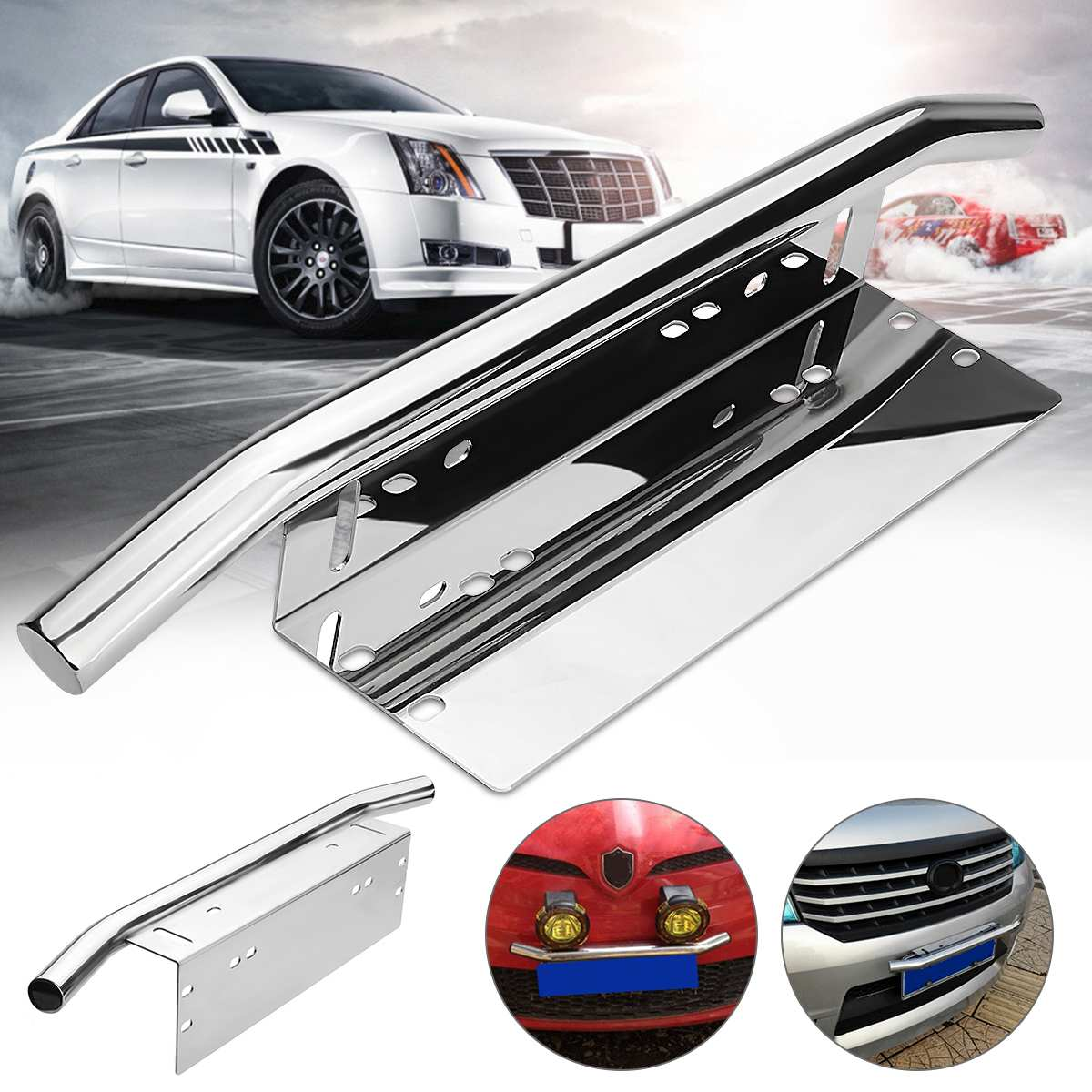 Silver Car Bull Bar Light Mounting Bracket Car License Plate Frame Holder