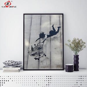 Simple Banksy Painting Street Art Shopping Woman Falling Graffiti Irony Poster and Prints Decor for Home Unframed