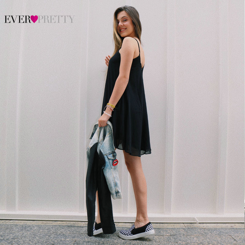 Ever Pretty New Arrival Cheap Cocktail Dresses AS01020 2019 Little Black A-line Mini Short Party Gowns Summer Robe Cocktail