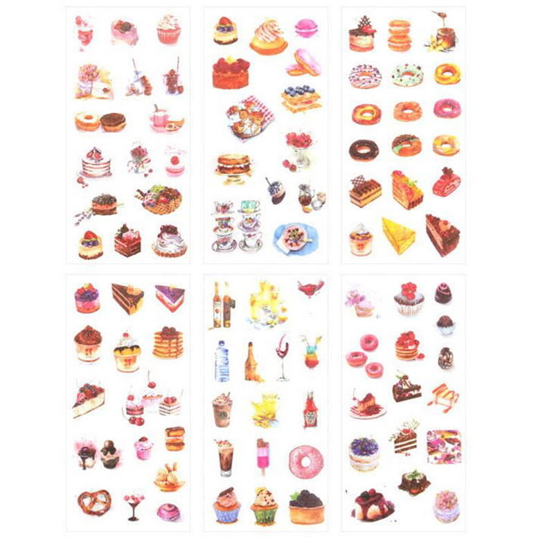 6 Sheets Dessert Stationery Stickers Cute Donut Decor Adhesive PVC Stickers Scrapbooking Diary Decor Girls Diy Albums Papeterie