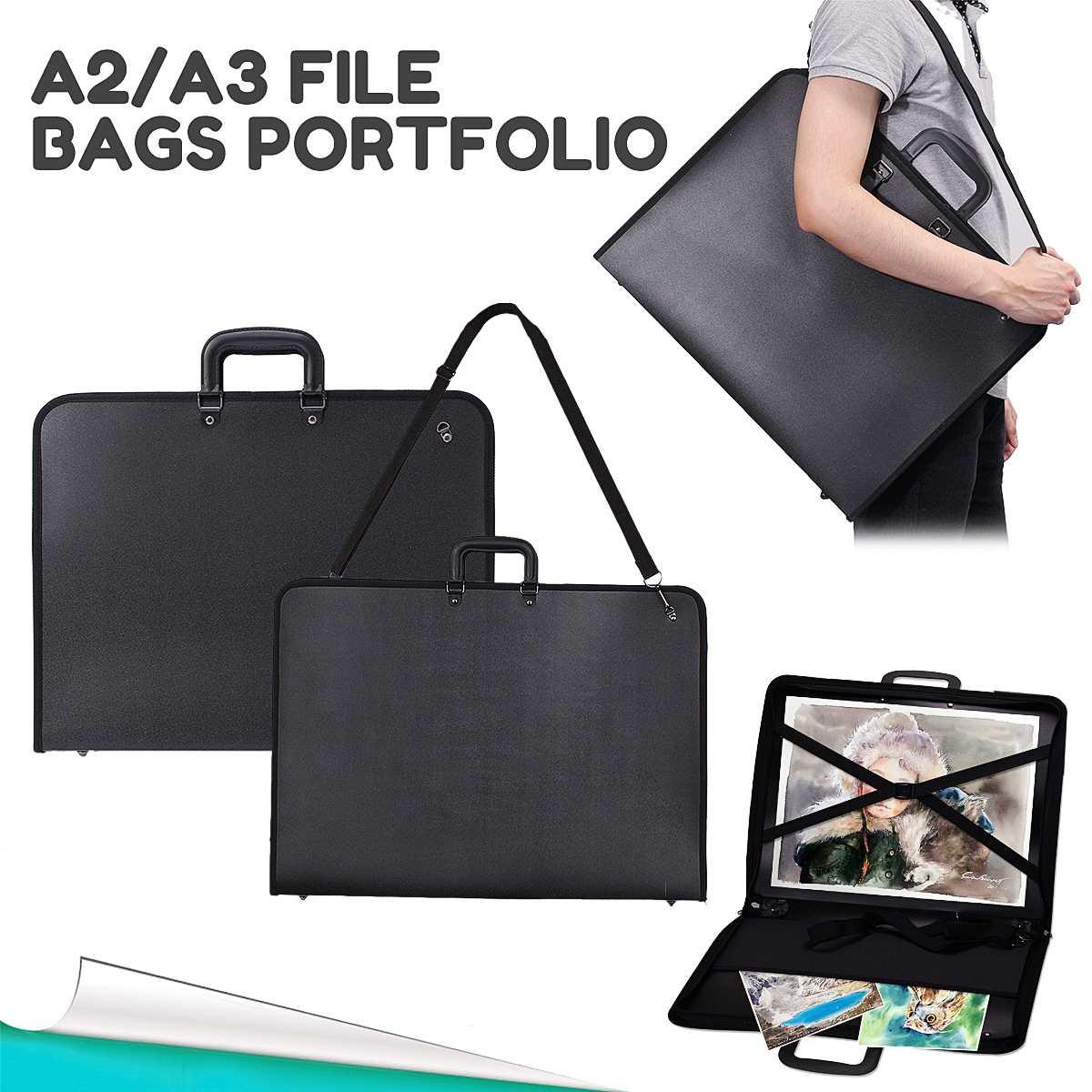 1pcs A2 A3 Vinyl Artist Portfolio Drawing Painting Storage File Folder Plastic Document Carry Case For Art Set Sketch Supplies