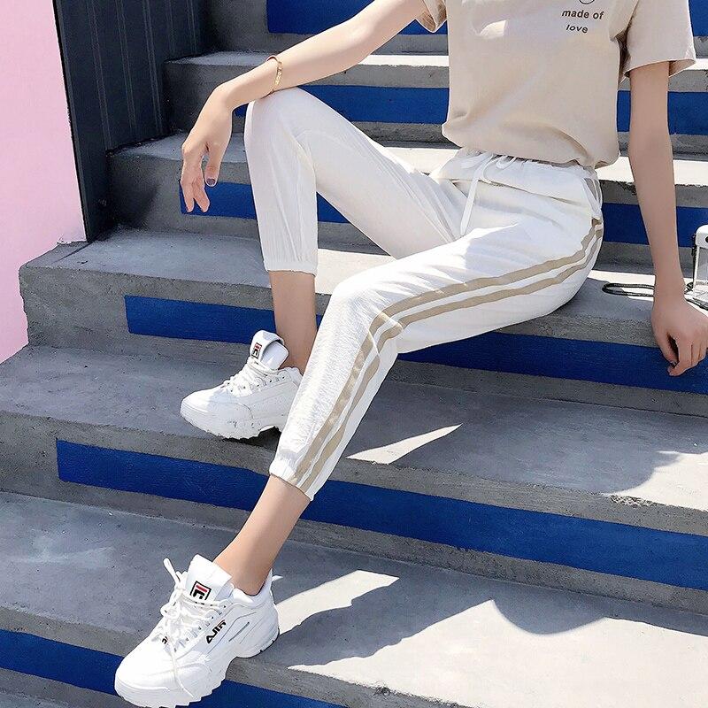 Women Pants Casual Sports Jogging Bottoms Side Stripe Drawstring Sweat Trousers Women Loose Elastic Waist Sportswear Pants 1