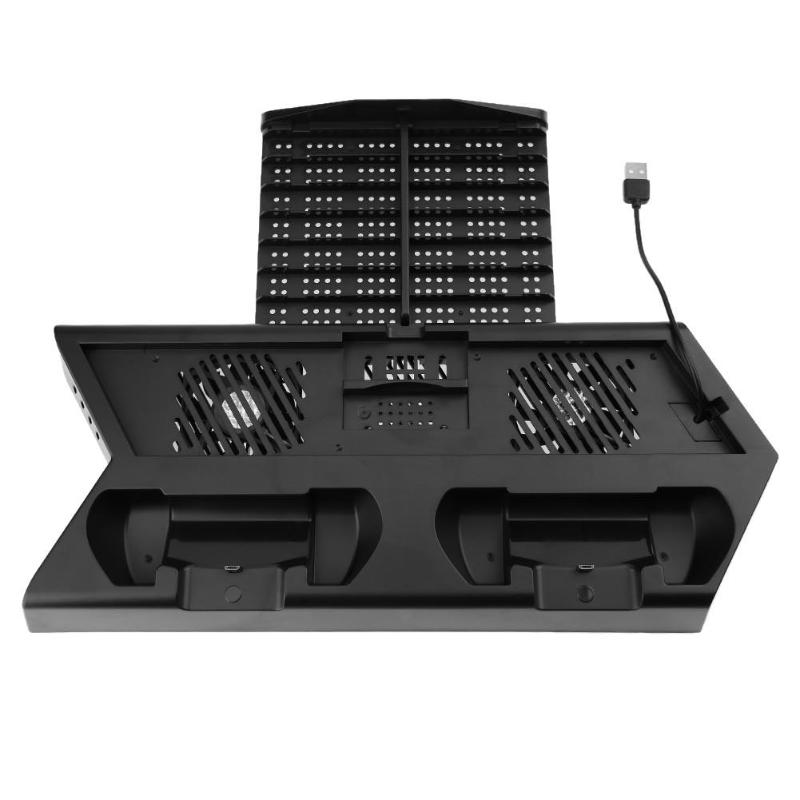Game Console Host Multi-function Vertical Stand Cooling Fan Joystick Storage Box For PS4/ PS4 Slim/ PS4 Pro With Indicator Light